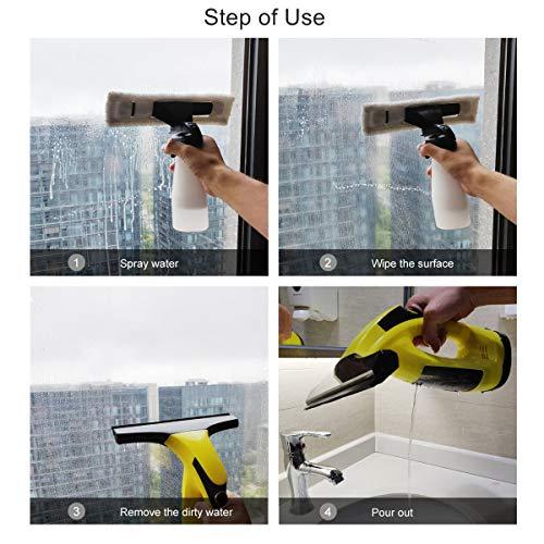 Window Vacuum Cleaner, PROSTORMER Cordless Window Vac Streak-Free Cleaning Tool Kit with Vacuum Squeegee and Spray Bottle