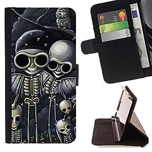 Stuss Case / Funda Carcasa PU de Cuero - Cráneo del motorista Dibujo Negro Esqueleto - Motorola Moto E ( 2nd Generation )