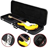 Topeakmart Electric Bass Guitar Hard Case Wooden Leather Black