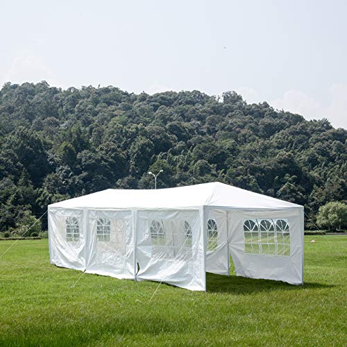 (mecor 10'x30' Party Tent Canopy Wedding Tent Event Tent-Outdoor Gazebo White with 7 Sidewall 3 Rooms)