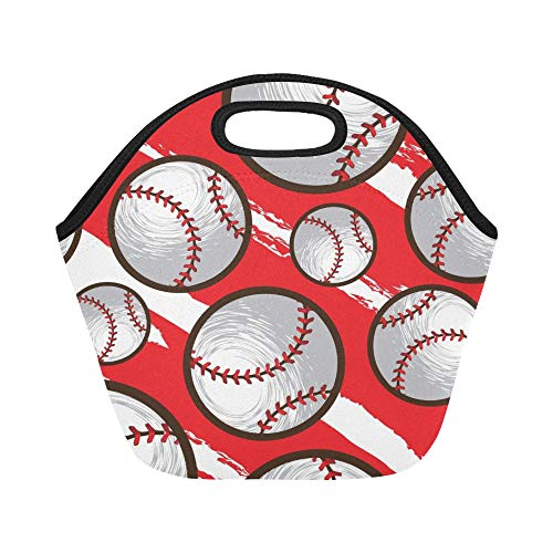 Insulated Neoprene Lunch Bag Baseball Large Size Reusable Thermal Thick Lunch Tote Bags For Lunch Boxes For Outdoors,work, Office, School