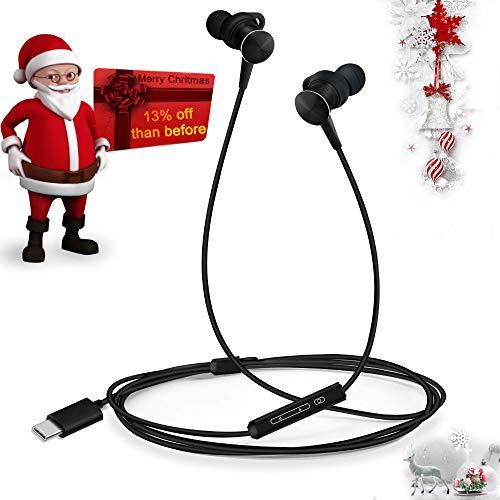 Digital Stereo Earphones (Type C Headphones Ecoker Hi-Fi Digital Stereo Earbuds in-Ear Noise Cancelling Sports Earphones with Mic for Google Pixel 2/3/XL, Huawei Mate 10/P20/Pro, Moto Z/2/3, HTC U11/12, Essential PH-1 - Black)