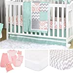 Medallion-Medley-Coral-Mint-Baby-Crib-Bedding-11-Piece-Sleep-Essentials-Set