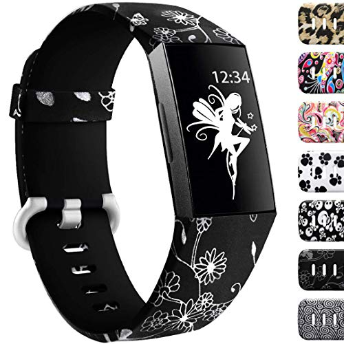 Ouwegaga Compatible for Fitbit Charge 3 Band Women Men Flower Fairy Pattern Small