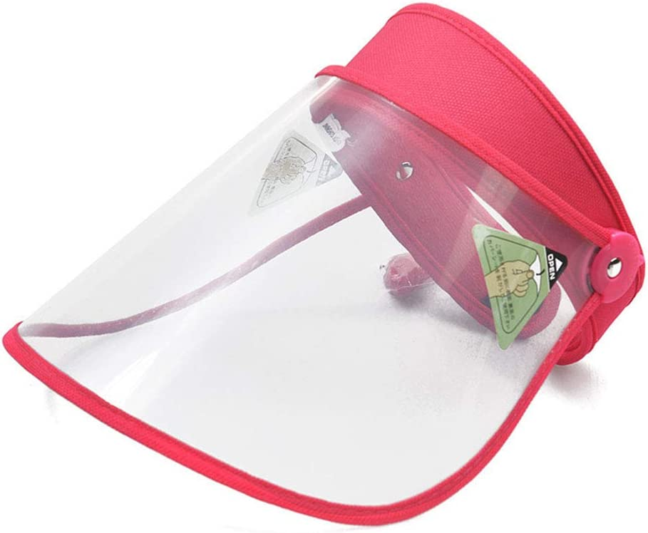 LILIJIA Máscara Facial Protectora De Cara Completa Anti Saliva, Al Aire Libre Seguridad Gorra, en Forma Niño Niña,Visera De Verano Portátil, Utilizando, Rosado