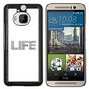Dragon Case - FOR HTC One M9+ / M9 PLUS - life text glitter grey white sparkle - Caja protectora de pl??stico duro de la cubierta Dise?¡Ào Slim Fit