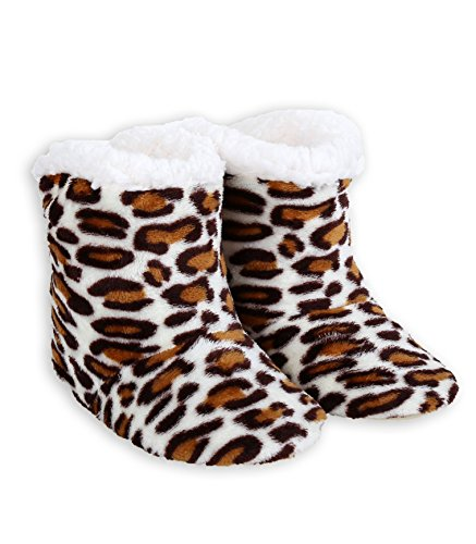 ICONOFLASH Womens Printed Bootie Slipper with Faux Shearling Lining White Leopard A5Uo84