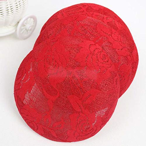 15cm Sinamay Fascinator Lace Flower Hat Base for Millinery Hat Making 3 Colours | Color - Red