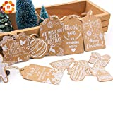 Tag Christmas Multi Party 50PCS Multi Style Christmas Series Kraft Paper Tags Crafts Hang Tag with Rope Christmas Party Labels Gift Wrapping Supplies (Random)