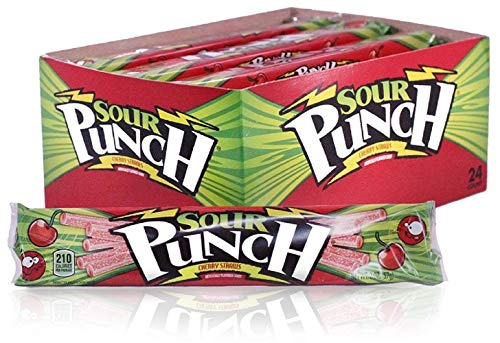 (Sour Punch Straws, Cherry Fruit Flavor, Soft & Chewy Candy, 2oz Tray (24)