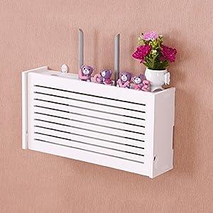 Yazi WiFi Router Cable Power Plug Wire Storage Boxes Wall Mount Floating  Shelf Storage Rack Big Window Shades