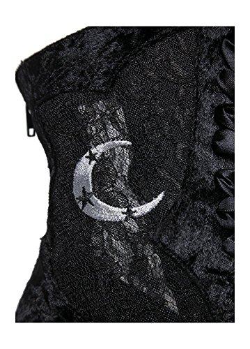 YRU Dame gothique Sorcière en velours dentelle cheville de coffre noir