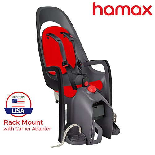 Hamax Caress Rear Child Bike Seat (Grey/Red, Rack Mount) (Best Front Mounted Child Bike Seat)