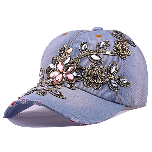 (CRUOXIBB Women's Denim Hat Bling Flower Rhinestone Cowboy Blue Baseball Cap(01 Light Blue))