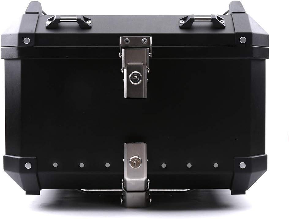 color tree CNC Aluminium Top Case Moto Coffre avec la Serrure 36L//40L//50L//60L pour Universel de Moto Noir