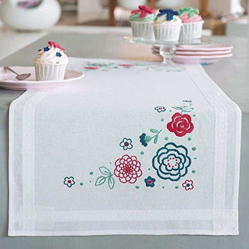 Vervaco® Red & Blue Posies Table Runner Stamped Embroidery Kit