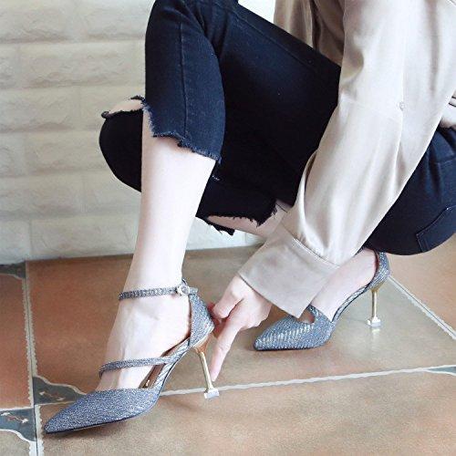 de con Fina de Punta Zapatos Qiqi Zapatos Silver luz Tacones Xue Correa Hueco Tribunal Zapatos Mujer Solo ranurada Mujer de wqPIgzx