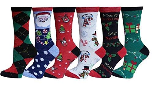 Gilbin's Soft & Stretchy Christmas Socks, Size: 9-11, 6 Pack, Christmas Argyle (Les Cheries 13' Fashion)