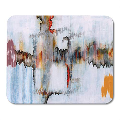 Emvency Mouse Pads Orange Paint Blue Modern Abstract Painting Colorful Contemporary Red Mouse Pad for notebooks, Desktop Computers mats 9.5
