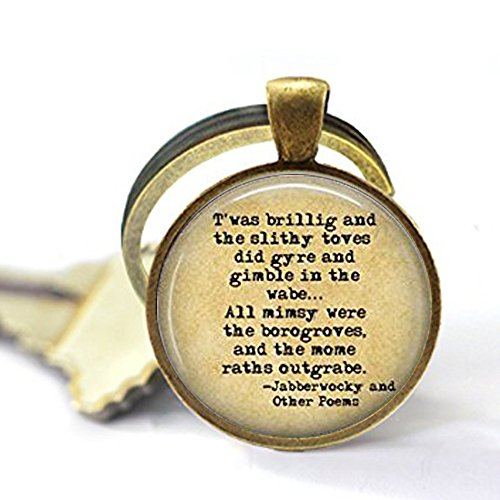 yijun Jabberwocky Keychain- Book Keychain - Lewis Carroll Keychain - Jabberwocky Poem -