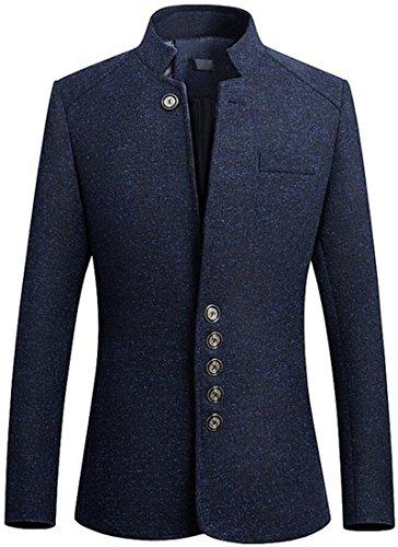 - Fubotevic Mens Mandarin Collar Casual Slim Single Breasted England Blazer Jacket Coat Navy Blue L
