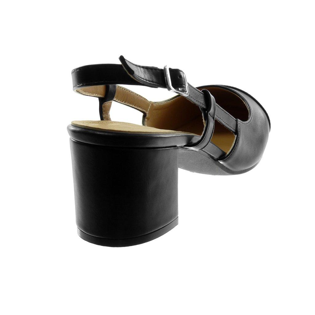 Scarpe Moda Scarpe Decollete Sandali Open-Back Decollete bi-Materiale Donna Fibbia Verniciato Bicolore Tacco a Blocco Alto 6 CM Angkorly