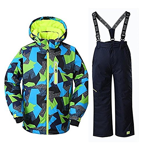 RIUIYELE Boys High Warm Hooded Waterproof and Windproof Snowboard Jacket and Pant