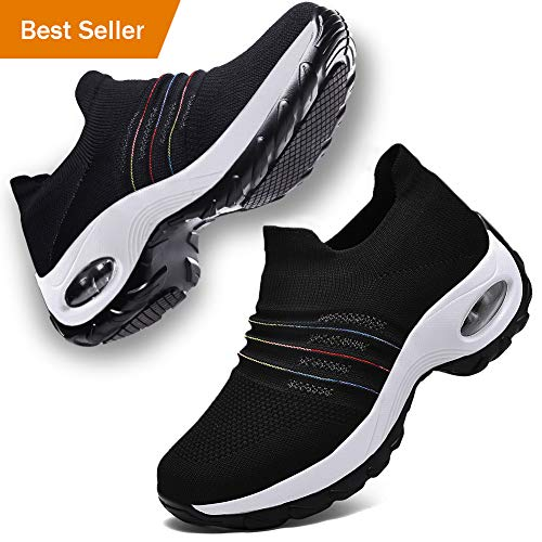 DierCosy Walking Shoes for Women Comfortable Nursing Work Shoes Slip on Socks Sneakers with Air Cushion Platform Black/White, 8 (Shoes Women Work)