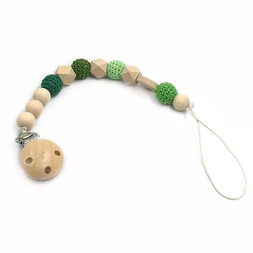 Coskiss Enfermera geométrica de madera de dientes ganchillo perlas chupete clip maniquí color natural cordón de seda Baby Teether regalo (verde)