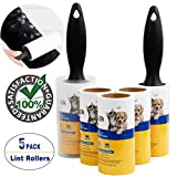 Lint Roller Pet Hair Remover Fur Tape Roller Sticky Hair Remover for Clothes Dog Hair - 5 Pack