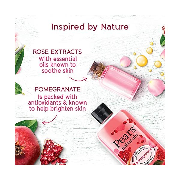 Pears Naturale Brightening Pomegranate Bodywash With Glycerine, Paraben Free, Soap Free, Eco Friendly, Dermatologically… 2021 July New pears natural pomegranate brightening body wash has the goodness of 100 percent natural ingredients This body wash has the goodness of 100 percent natural pomegranate, it gives you brighter, glowing skin Pears natural body wash is 100 percent soap free and has 0 percent parabens