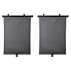 mAuto, Roller Car Sun Shade Premium Universal Anti-Glare Baby Car Sunshades, Retractable 2 PACK, Black