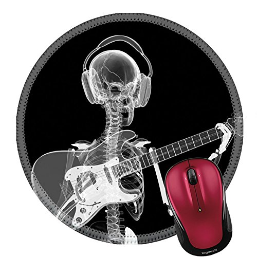 Liili Round Mouse Pad Natural Rubber Mousepad xray Skeleton in headphones playing guitar Photo (Halloween Dance Concept)