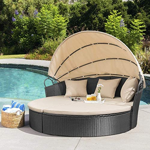 patio, lawn, garden, patio furniture, accessories, patio seating,  sofas 8 picture Homall Patio Furniture Outdoor Daybed with Retractable Canopy in USA