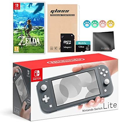 Mytrix Switch Lite 32GB Gray Console, The Legend of Zelda: Breath of The Wild Game Switch Accessories Kit