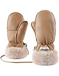 SNSUSK Kids Gloves Warm Sheepskin Shearling Leather Rugged Windproof Winter Mittens with String Boys Girls