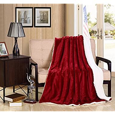 Bedsure Sherpa Blanket Throw Blankets Bed Blankets, Soft Cozy and Warm(Reversible/Textured/Fuzzy), 60  x 80  Burgundy Red
