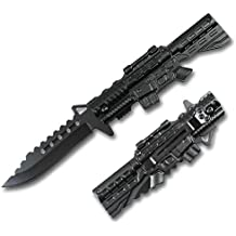 Rtek M4 Rifle Style Shaped Black Tactical Spring Assisted Assist Knife Knives