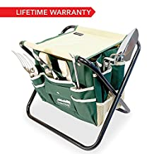 GardenHOME™ 7 Piece All-In-One Garden Tool Set - 5 Sturdy Stainless Steel Tools, Heavy Duty Folding Stool, Detachable Canvas Tool Bag