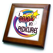 ft_166745_1 Dooni Designs - Believe In Dreamy Belief Designs - I Believe In Pedicures Cute Believer Design - Framed Tiles - 8x8 Framed Tile