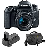 Canon EOS 77D DSLR Camera with 18-55mm Lens with Vello BG-C15 Battery Grip and Journey 34 DSLR Shoulder Bag (Black)