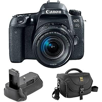 Canon EOS 77D DSLR Camera with 18-55mm Lens with Vello BG-C15 Battery Grip and Journey 34 DSLR Shoulder Bag (Black)