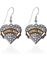Colored Football Mom Pave Heart Earrings French Hook Clear Crystal Rhinestones