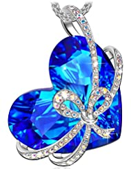 QIANSE ♥Heart of The Ocean♥ White Gold Plated Necklace Made with Swarovski Crystals Fine Jewelry [Gift Packing]- Once in a Lifetime Gift! Gifts for Valentine's Day!