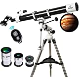 Telescope, 90mm Astronomy Refractor Telescopes with Smartphone Adapter & Bluetooth Camera Remote - Perfect for Children Educational and Gift