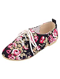 ENMAYER Womens Girls Printed Fabric Casual Round toe Lace up Ballet Flats Shoes