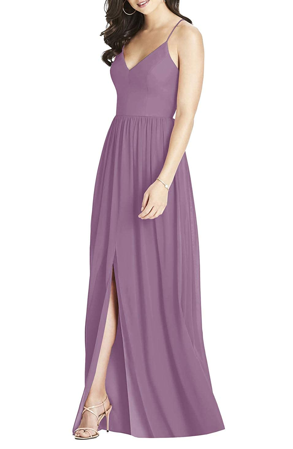 Mauve YUSHENGSM Women's Spaghetti Strap Prom Dresses Long Formal Evening Bridesmaid Party Gown