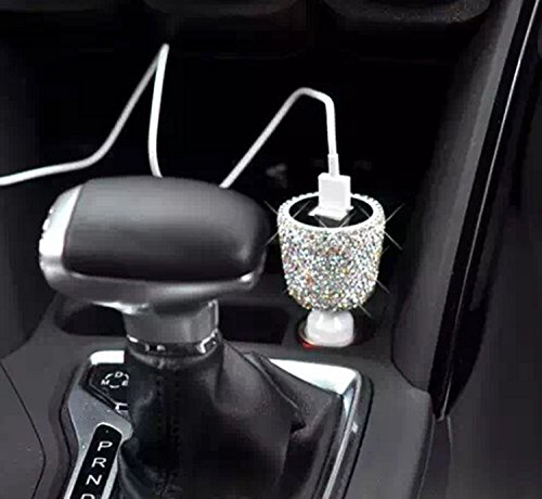 TISHAA Bling Spark Crystal Handmade Dual USB Quality Car charger Designed for Apple and Android Devices (Large, White Crystal)