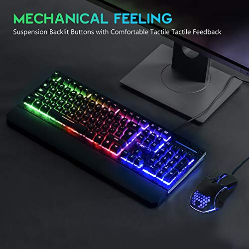 Gaming Keyboard and Mouse Combo Colorful Lights Rainbow LED Backlit Keyboard with Ergonomic Detachable Wrist Rest, Programmable 3200 DPI 7 Button Gaming Mouse for Windows PC Mac Gamer,Office/Gaming