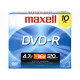 Maxell 10-Pack 4.7GB 16X DVDR 638004